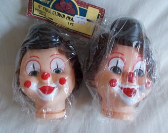 Vintage Two Craft Clown Heads With Hair