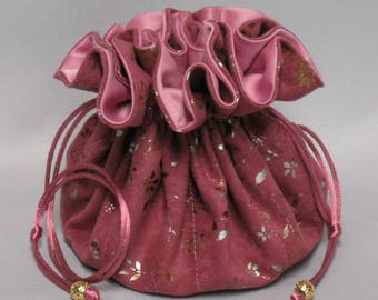 Jewelry Travel Tote---Eight Pocket Organizer Pouch---Hot Pink Soft Suedecloth---Large Size