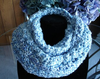 Medium Blue Infinity Cowl Scarf