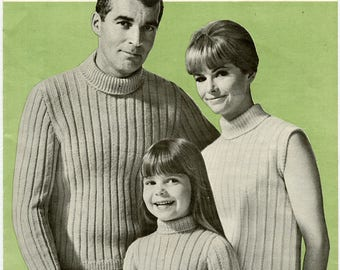 Vintage Patons Beehive 2066 Knitting Pattern - Poor Boy Trio in Astra - Turtleneck Sweater for Men, Women and Children