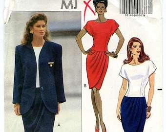 Vintage Butterick 5263 Women's Long Blazer Jacket and Drop Waist Pleated Dress UNCUT Sewing Pattern Sizes 18 20 22 Bust 40 42 44 Large