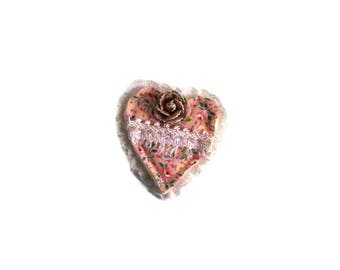 Pink Print with Ruffle Valentine Brooch