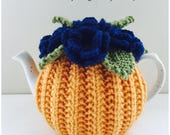 Hand-knitted Floral tea cosy in pure wool -  Midnight Violets - Size Small - fits 1-2 cup teapots