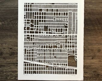 Oak Park hand cut map