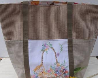 Vintage Trimmed Cat Market Tote / Hand Embroidered Market Bag