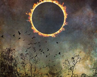 solar eclipse dramatic sky canvas, fine art decor bedroom art, nature landscape surreal dreamy home wall art spiritual sun moon conceptual