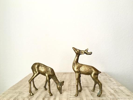 Vintage Solid Brass Deer Pair, Spotted Buck and Doe
