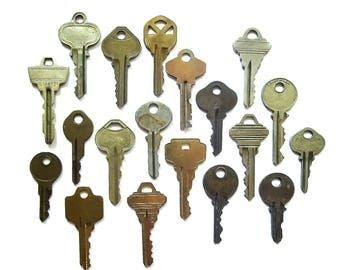 Key collection 18 keys Vintage stamping keys Antique keys DIY Stamping keys Old keys for stamping Blank keys Blank side Stampable BK A1 #34