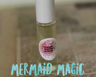 MERMAID MAGIC Scented Perfume Oil Roll On - 7ml Glass Roll On Bottle, Paraban Free and Vegan - Coconut + Melon + Raspberry + Sugarcane
