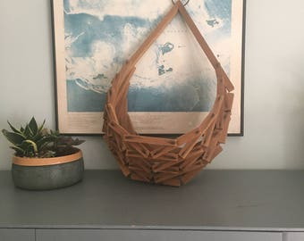 Vintage Wooden Hanging Basket Planter Geometric Wood Block