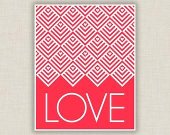 Valentine Art, Love Art Print, red nursery decor, paper anniversary, wedding gift, love gift, typography art, geometric art, red bedroom art