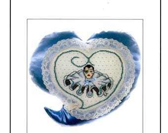 Jeanne Christine Sweetheart Mime Ruffled Collar Heart Enclosed in a Heart Shaped Patch Counted Cross Stitch Embroidery Craft Pattern Leaflet