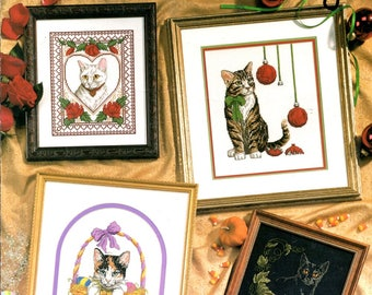 Holiday Cats Surrounded Roses Lace Christmas Eyeing Ornaments Black Cat Pumpkin Counted Cross Stitch Embroidery Craft Pattern Leaflet 94-011