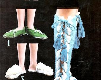 Slippers Knit Blue Long Legged Ties Green White Crochet Popcorn Pom Poms Yellow Daisy Pink Slip Ons Craft Pattern Leaflet Leisure Arts 70