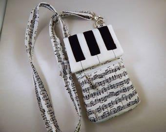 Piano Keys Sheet Music Cell Phone Lanyard Wallet Wristlet Organizer Tote