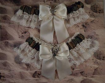Camo Camouflage Hunting Satin Olive Green Ivory Satin Ivory lace Deer Charm Wedding Bridal Garter Toss Set