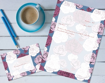 Falling Roses 'print your own' letter writing paper set