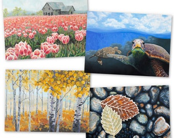 Greeting Card Set of 4 Original Impressionist Paintings, Tulips, Turtles, Aspens, River Rocks