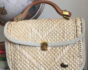Vintage Italian woven straw handbag