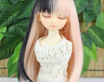 Fatiao - New Dollfie MSD Kaye Wiggs 1/4 BJD Size 7-8 inch Dolls Wig - Pink & Black