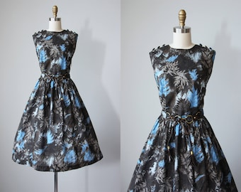 50s Dress - Vintage 1950s Dress - Soulful Chocolate Blue Fern Print Cotton Sundress XL - Mood Ring Dress