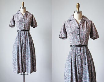 1940s Dress - 40s Vintage Dress - Silk Novelty Print Grey and Pink Shirtwaist Day Dress L - Pink Elephants on Parade Dress