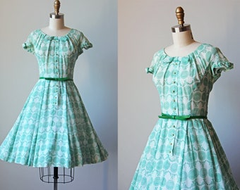50s Dress - Vintage 1950s Dress - Emerald Green Floral Voile Cotton Full Skirt Sundress S - Grass Valley Dress