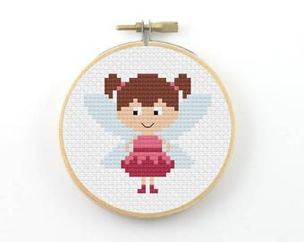 Fairy cross Stitch pattern, pixie cross stitch, fairy pdf pattern, modern cross stitch, girl room decor, pixel people cross stitch