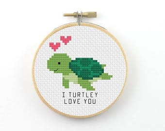 I turtley love you cross stitch pattern, turtle pdf pattern, turtle pun cross stitch, turtle cross stitch, I truly love you, valentine gift