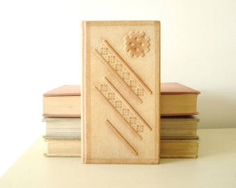 Vintage tooled notebook, blank book, slim embossed leather journal, personal diary, alphabetical tabs & blank pages, stocking stuffer