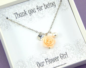 Flower Girl Necklace,Flower Girl Thank You,Our Flower Girl Necklace,Personalized Necklace,Flower Girl Gift Junior Bridesmaids