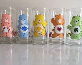 Set of 5 Care Bears glasses  - Pizza Hut promo 1983