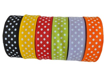 Reversible  Polka Dot Jacquard Ribbon  1 roll - 10 meters