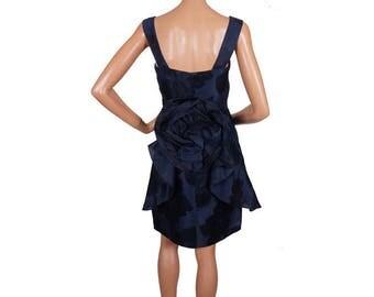 Vintage 1960s Blue Silk Party Dress - Rosette Bustle Back - S