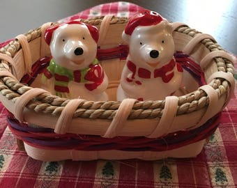 Polar Bear Salt and Pepper Shakers and Basket