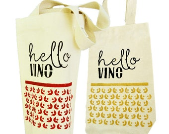 Hello Vino Wine Tote - Recycled Canvas Wine Bag - Hand-Stenciled Ecobag - Housewarming Gift Bag - Hand-painted Gift