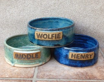 Personalised rabbit feeding bowl wheelthrown stoneware pottery