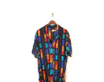 BTS SALE Vintage 80s Oversized Colorful Southwestern Button Up Blouse s m l