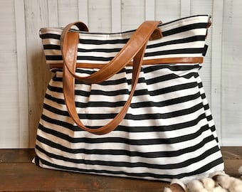 BagEnvy Handbags -Monterey Large Diaper Bag - with Vegan Leather -  In  Skinny Stripes - or Custom Design Your own