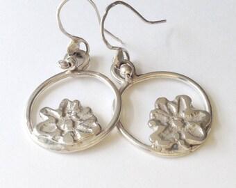 925 Sterling Silver Hoop Dangle Earrings with  Flower Decoration