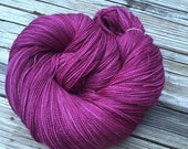Song of the Sirens hand dyed lace weight yarn Silk Treasures Lace Yarn merino semisolid lace yarn 875 yards cranberry magenta maroon