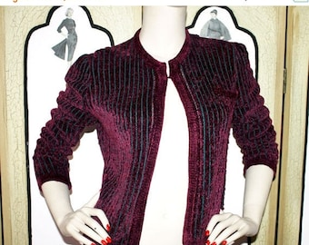 ON SALE St. John Knits Merlot Striped Sweater Bolero. Small to Medium