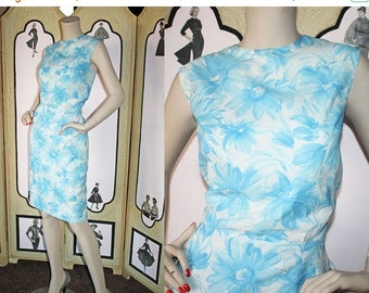 ON SALE Vintage 60's Dress in Gorgeous Blue and White Floral Print from Georgie Originals. Medium to Large.