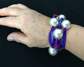 Authentic Chanel Ribbon Wrap Bracelet with 16mm Faux Pearls Purple Neon Pink