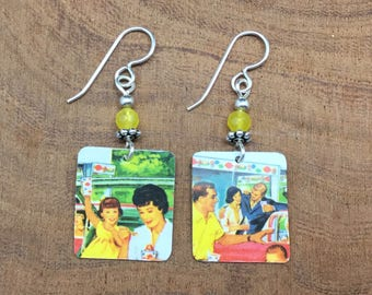Repurposed Dairy Queen gift card earrings.