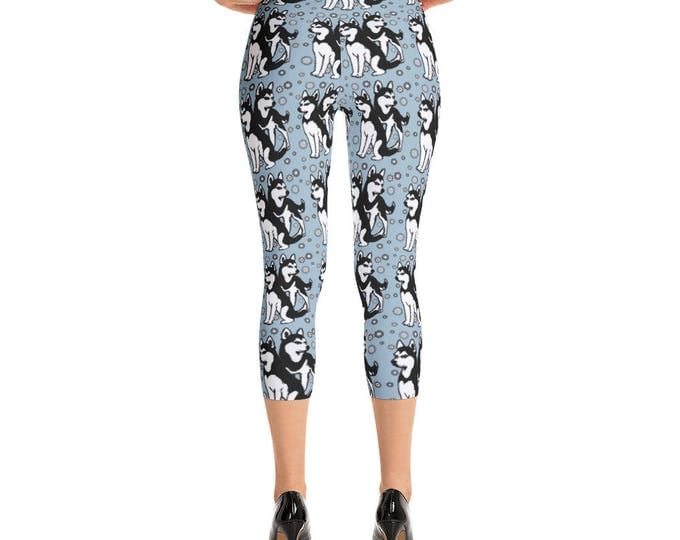 Siberian Husky Themed Capri Leggings