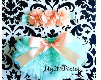 SALE BLOOMER and HEADBAND, Peach and mint, Ruffle bloomer with Bow, Satin bow, Baby headbands, Flower headband. Flower Crown, baby girl set