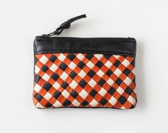 Black and orange handwoven leather zipper pouch coin purse zipper case small money bag credit card zip purse - The Leto pouch