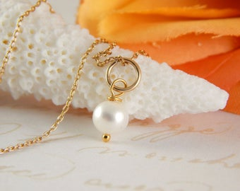Gold Fill 16 inch Charm Necklace ~ Pearl Charm Necklace ~ add a charm ~ add a dangle ~ AdoniaJewelry