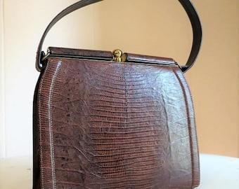 On SALE Vintage Brown Mad Men Style Lizard Skin Kelly Handbag